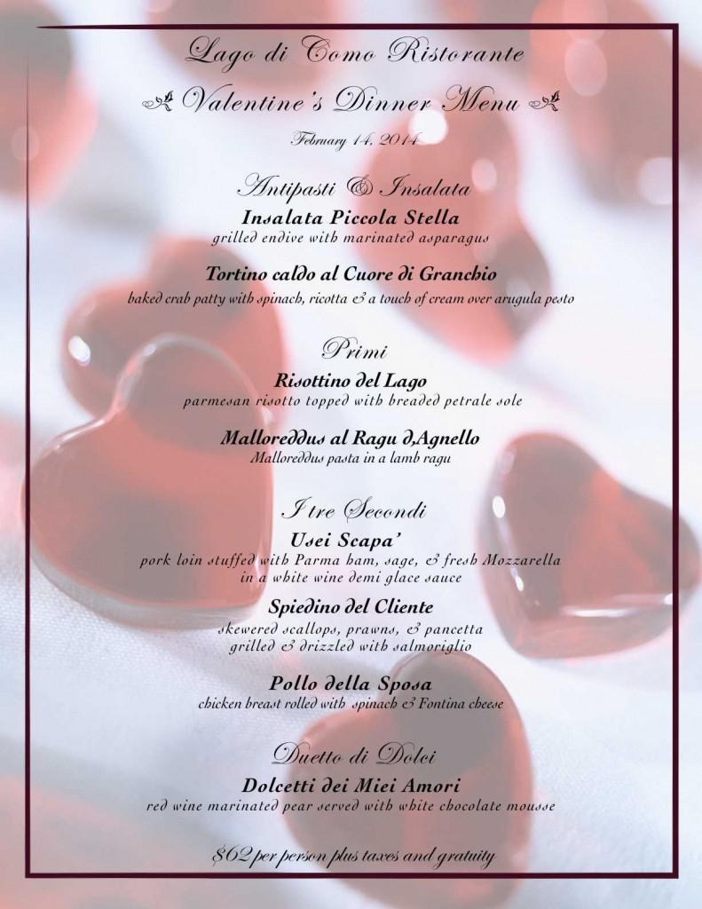 Valentines menu 2014