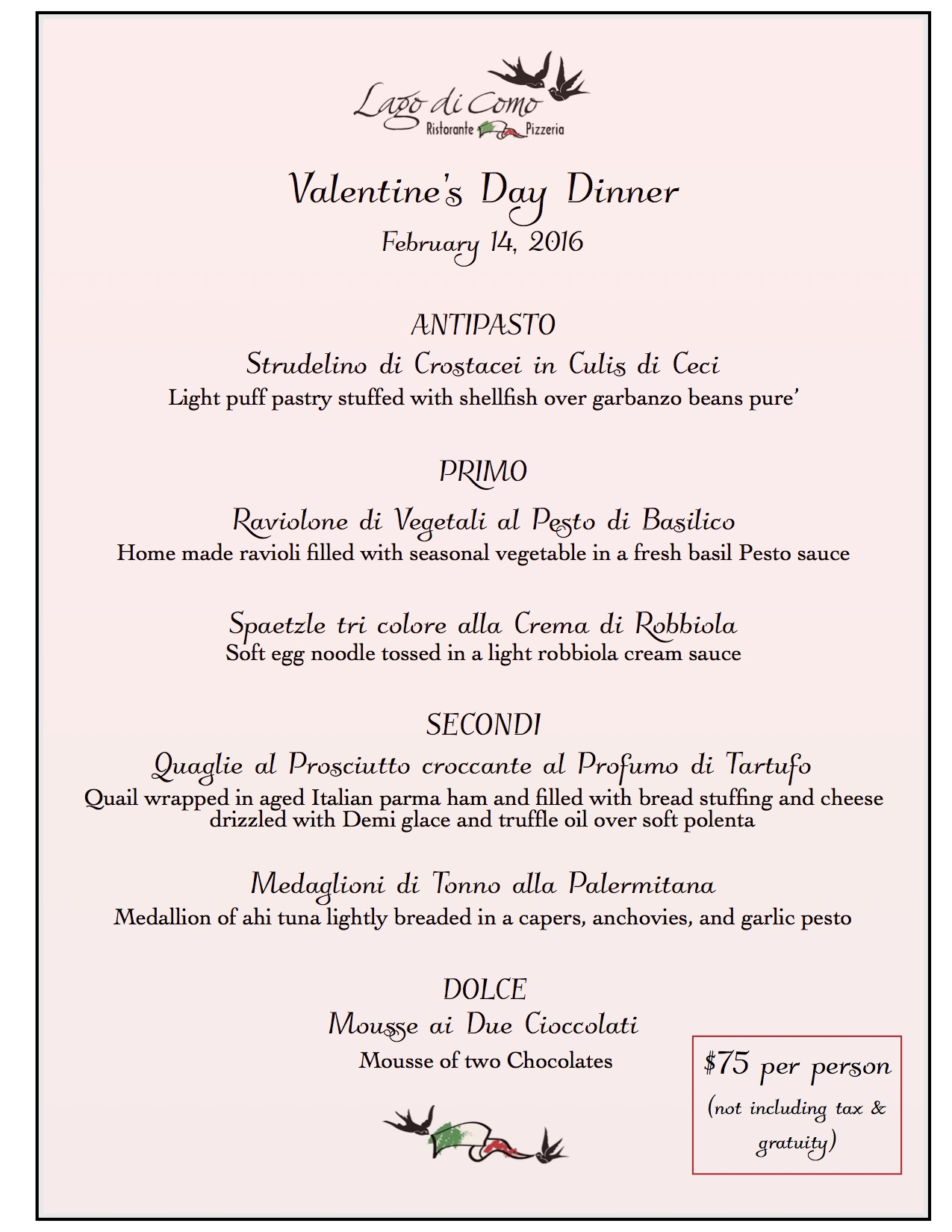 Valentine S Day Dinner Lago Di Como